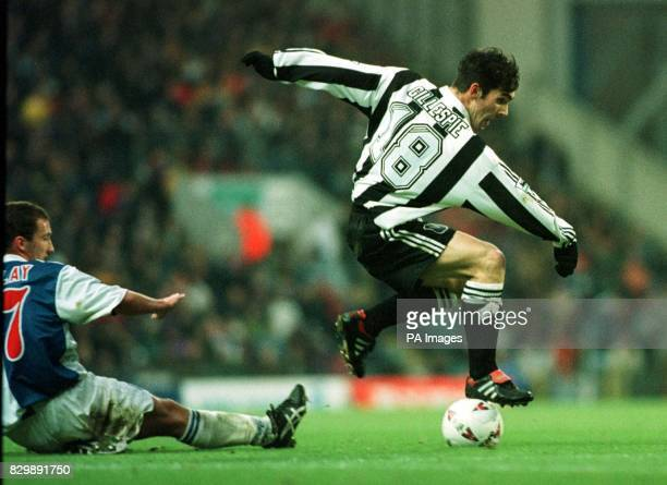 Newcastle's Keith Gillespie jumps over Blackburn's Billy McKinlay at Ewood Park Blackburn won the Premier League match 10 Photo by Bob Collier