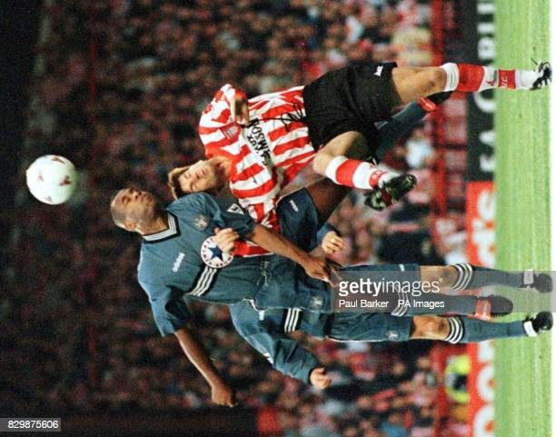Newcastles Les Ferdinand gets a head to the ball during their Premier League match against Sunderland at Roker Park this evening Photo by Paul...