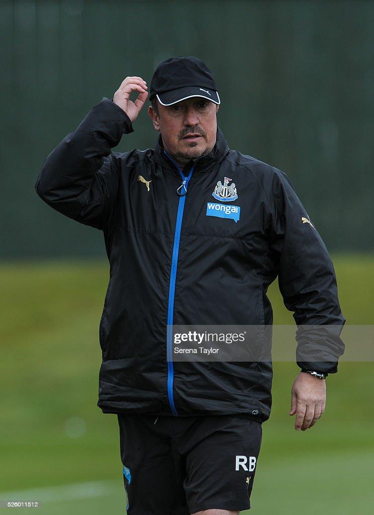 Newcastle's Manager Rafael Benitez during the Newcastle United Training session at The Newcastle United Training Centre on April 29, 2016, in Newcastle upon Tyne, England.