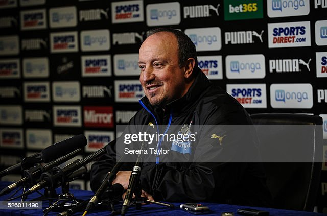 Newcastle's Manager Rafael Benitez during the Newcastle United Press Conference at The Newcastle United Training Centre on April 29, 2016, in Newcastle upon Tyne, England.