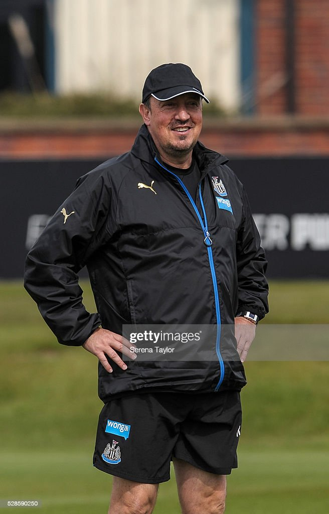 Newcastle's Manager Rafael Benitez smiles with his hands on hips during the Newcastle United Training session at The Newcastle United Training Centre on May 6, 2016, in Newcastle upon Tyne, England.