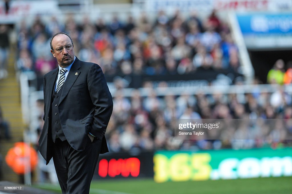 Newcastle's Manager Rafael Benitez stands on the sidelines during the Barclays Premier League match between Newcastle United and Crystal Palace at St.James' Park on April 30, 2016, in Newcastle upon Tyne, England.