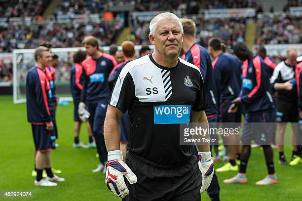 Newcastle's New Goalkeeping coach Simon Smith walks on the pitch during the Newcastle United Open Training session at StJames' Park on August 4 in...