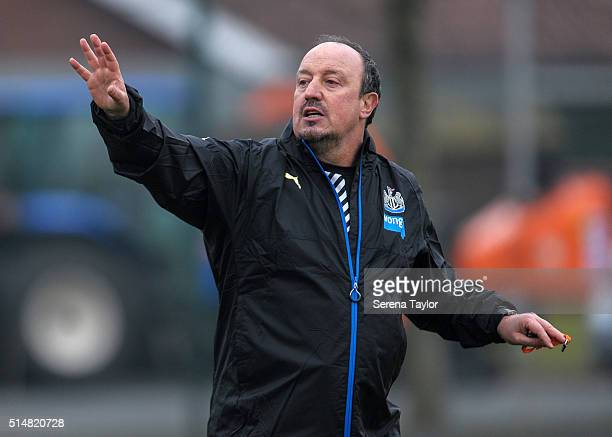 Newcastle's New Manager Rafael Benitez gestures during the Newcastle United Training session at The Newcastle United Training Centre on March 11 in...