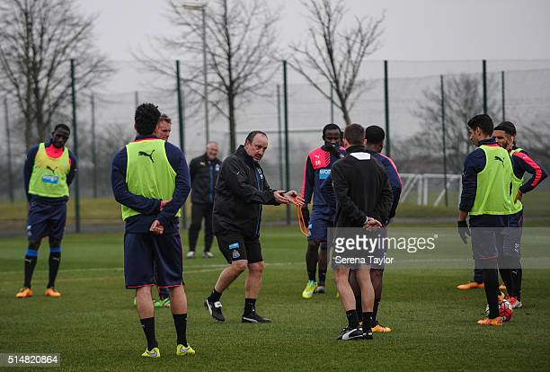 Newcastle's New Manager Rafael Benitez gives instructions to his new players during the Newcastle United Training session at The Newcastle United...