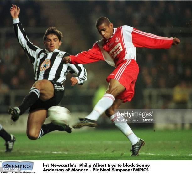 Newcastle's Philippe Albert try's to block Sonny Anderson of Monaco