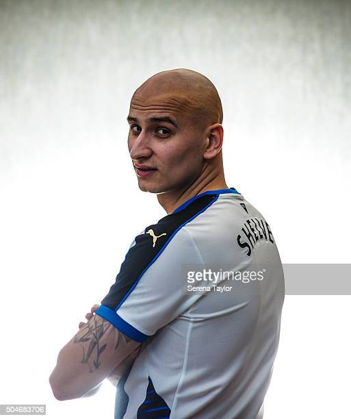 Newcastle's second January signing Jonjo Shelvey poses for photographs at The Newcastle United Training Centre on January 12 in Newcastle upon Tyne...