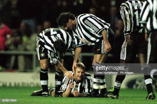 Newcastle's Stuart Pearce points his finger in celebration after scoring Newcastle's 2nd goal against Kiev in the Champions League tonight Photo Owen...