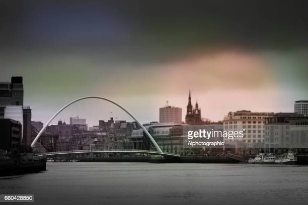 Newcastle-upon-Tyne skyline at dusk