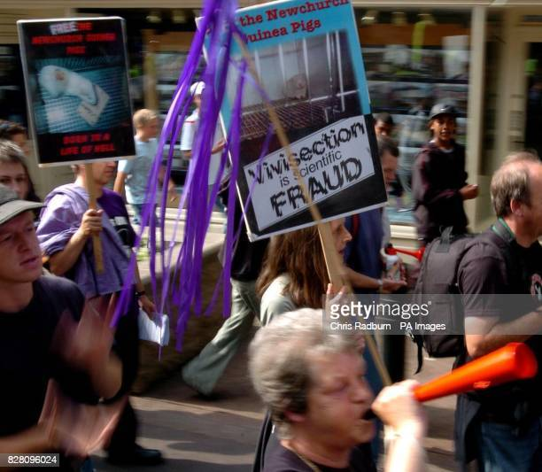 'Newchurch Victory Gathering' Animal rights protesters who campaigned against a farm that breeds guinea pigs for medical research