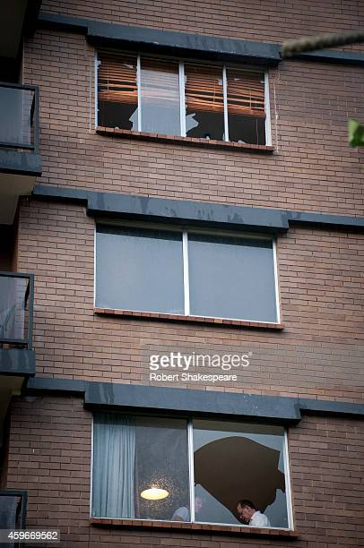 Newfarm apartments are seen heavily damaged with broken windows from the heavy storms and hail on November 28 2014 in Brisbane Australia Thousands of...