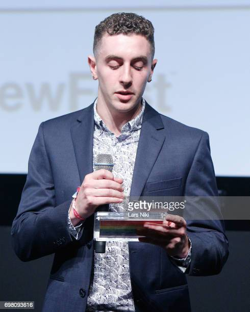 NewFest Award Winner Joe Sulsenti addresses the audience during the Cherry Pop Premiere at OutCinema Presented by NewFest and NYC Pride at SVA...
