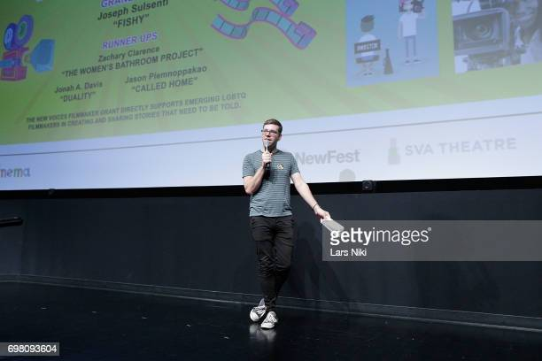 NewFest Program Director Nick McCarthy addresses the audience during the Cherry Pop Premiere at OutCinema Presented by NewFest and NYC Pride at SVA...