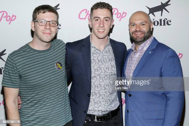 NewFest Program Director Nick McCarthy NewFest Award Winner Joe Sulsenti and SVA Theater Director Adam Natale attend the Cherry Pop Premiere at...