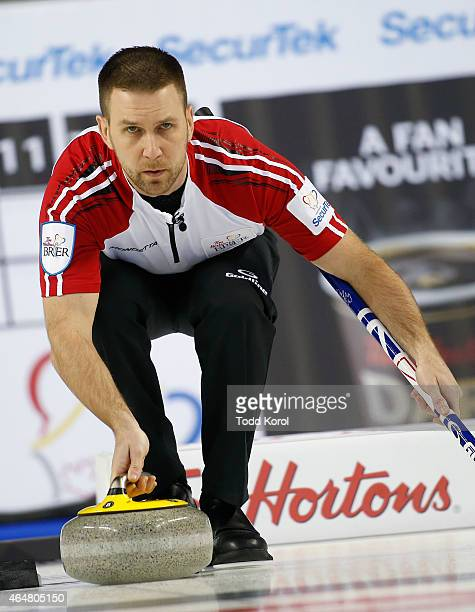 Newfoundland and Labrador skip Brad Gushue delivers his shot in his game against Saskatchewan during the Tim Horton's Brier at the Scotiabank...