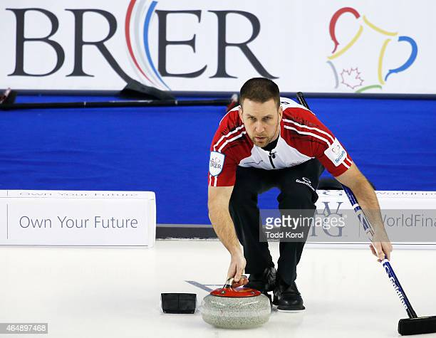 Newfoundland and Labrador skip Brad Gushue delivers his shot in his game against Northwest Territories during the Tim Horton's Brier at the...