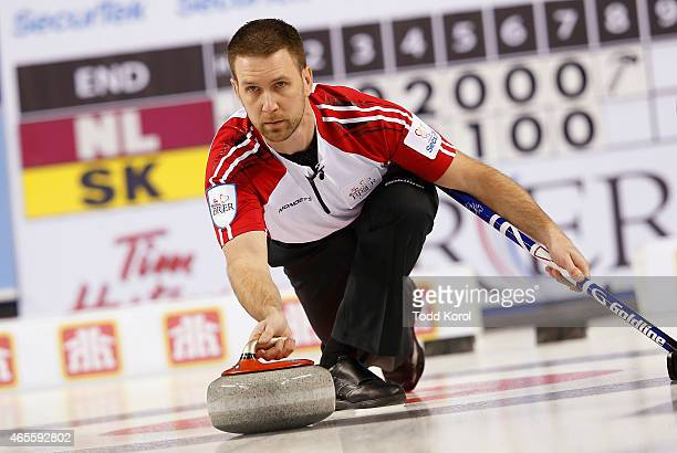 Newfoundland and Labrador skip Brad Gushue delivers his shot in the bronze medal game against Saskatchewan during the Tim Horton's Brier at the...