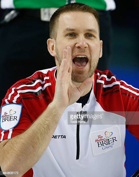 Newfoundland and Labrador skip Brad Gushue reacts to his shot in his game against Saskatchewan during the Tim Horton's Brier at the Scotiabank...