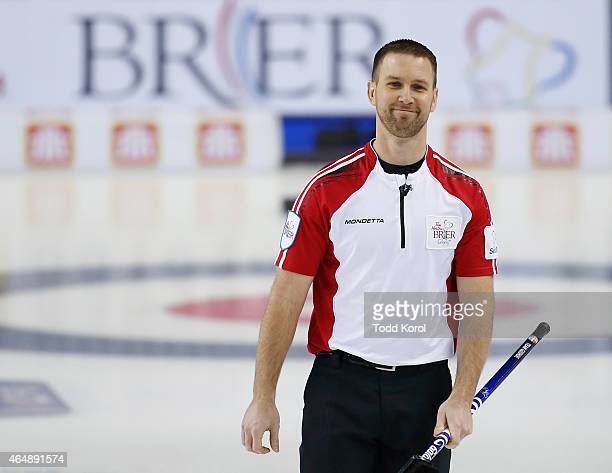 Newfoundland and Labrador skip Brad Gushue reacts to his shot in his game against Team Canada during the Tim Horton's Brier at the Scotiabank...