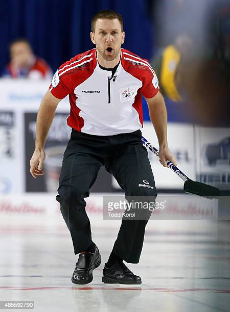 Newfoundland and Labrador skip Brad Gushue reacts to his shot in the bronze medal game during the Tim Horton's Brier at the Scotiabank Saddledome on...
