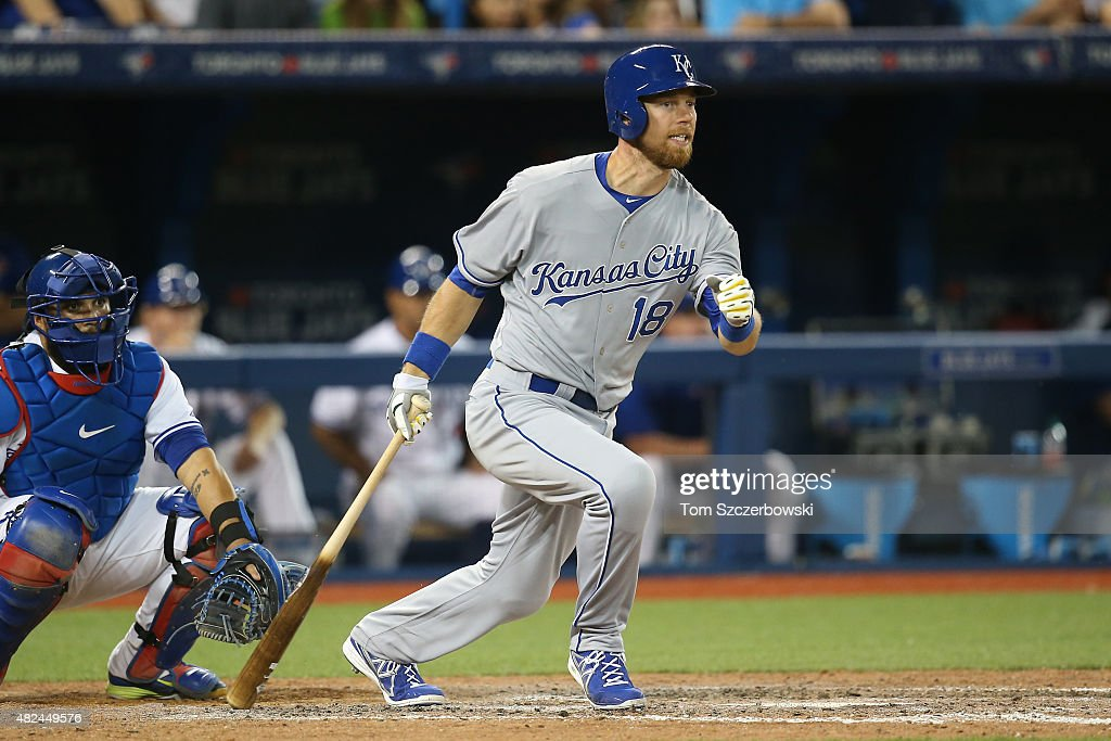 Newly acquired <a gi-track='captionPersonalityLinkClicked' href=/galleries/search?phrase=Ben+Zobrist&family=editorial&specificpeople=2120037 ng-click='$event.stopPropagation()'>Ben Zobrist</a> #18 of the Kansas City Royals grounds out in the ninth inning during MLB game action against the Toronto Blue Jays on July 30, 2015 at Rogers Centre in Toronto, Ontario, Canada.