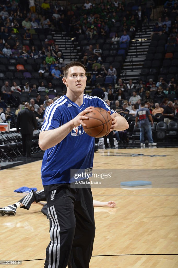 Newly acquired from New Zealand, Aron Baynes #16 of the San Antonio Spurs warms up before the game against the Phoenix Suns on January 26, 2013 at the AT&T Center in San Antonio, Texas.