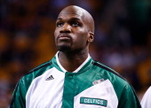 Newly acquired Joel Anthony of the Boston Celtics warms up prior to the game against the Los Angeles Lakers at TD Garden on January 17 2014 in Boston...