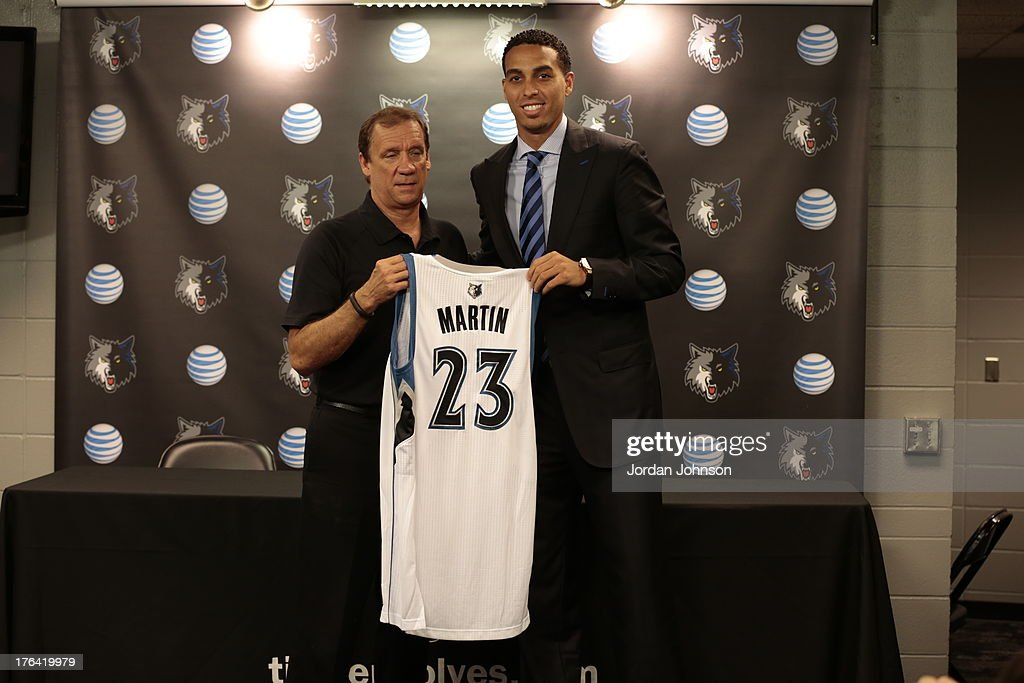 Newly acquired Kevin Martin of the Minnesota Timberwolves is introduced to the media by Phil 'Flip' Saunders, President of Basketball Operations on August 8, 2013 at Target Center in Minneapolis, Minnesota.