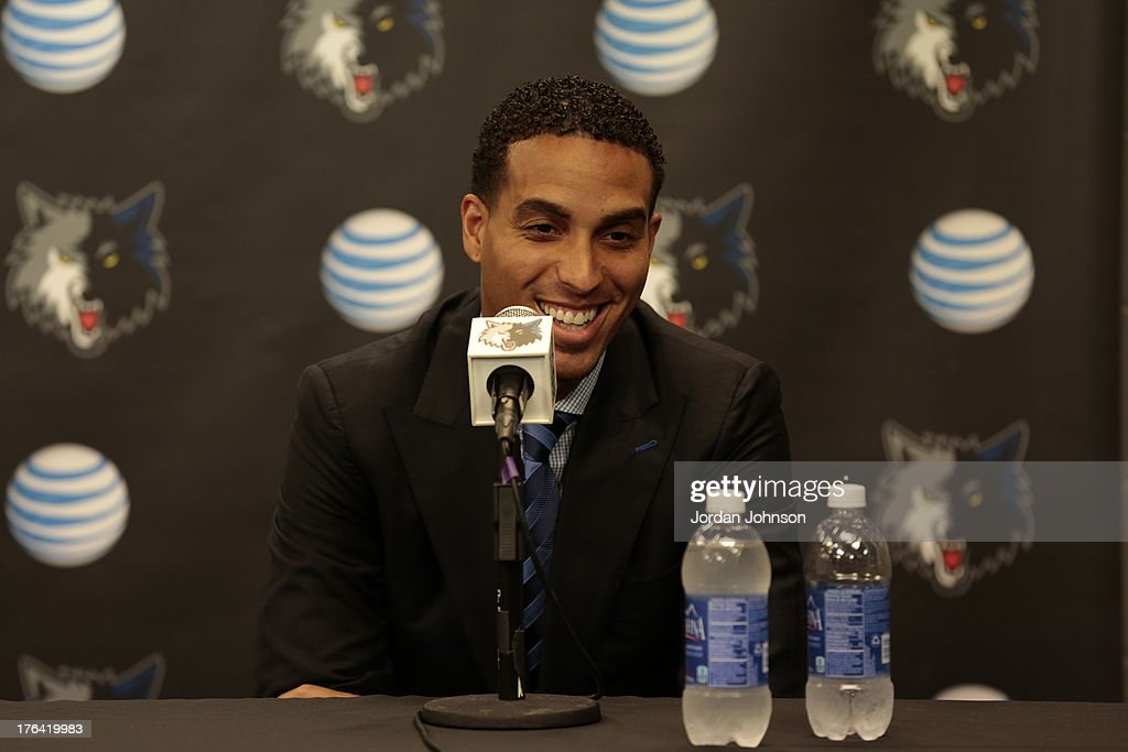 Newly acquired Kevin Martin of the Minnesota Timberwolves speaks to the media on August 8, 2013 at Target Center in Minneapolis, Minnesota.