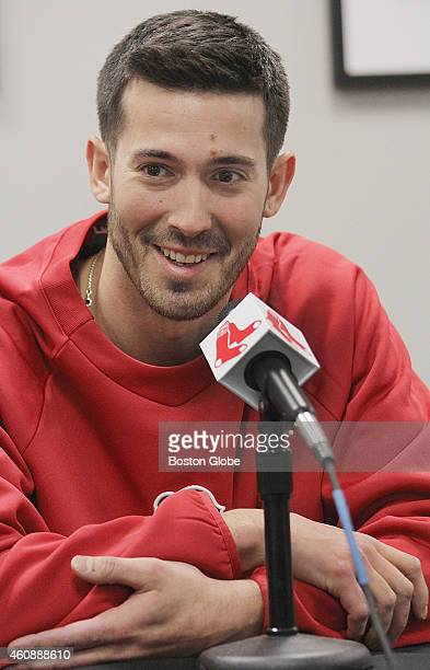 Newly acquired pitcher Rick Porcello spoke to the media at Fenway Park Friday December 19 2014