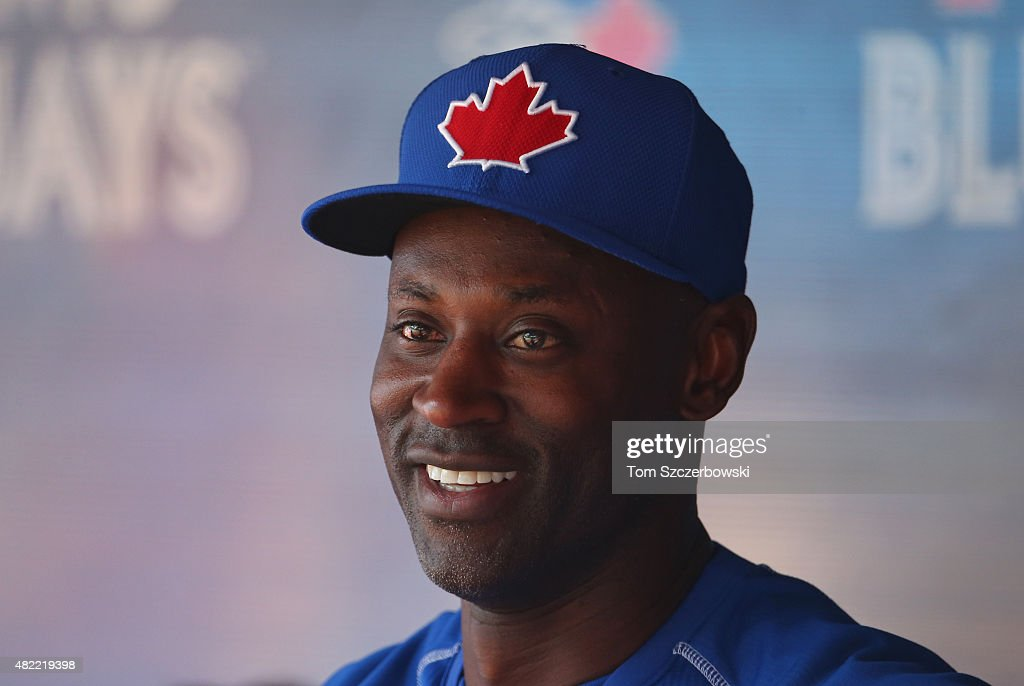 Newly acquired player LaTroy Hawkins of the Toronto Blue Jays during batting practice before the start of MLB game action against the Philadelphia...