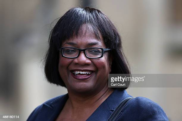 Newly announced Labour Party Shadow Secretary of State for International Development Diane Abbott arrives at Parliament ahead of a debate over the...