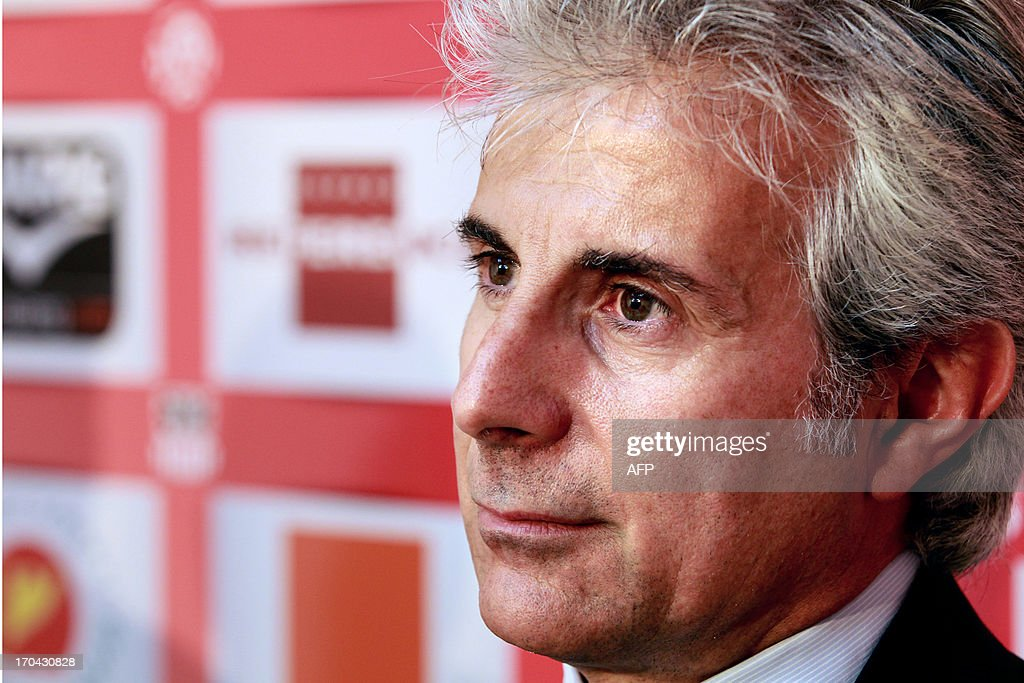 Newly appointed Ajaccio football club assistant-coach Giampiero Ventrone gives a press conference on June 13, 2013 in Ajaccio, during his official presentation along with his head coach.