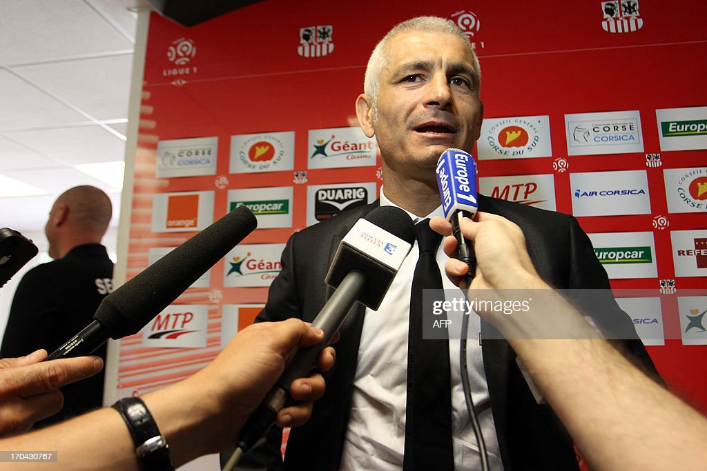 Newly appointed Ajaccio football club head coach, Italy's Fabrizio Ravanelli gives a press conference on June 13, 2013 in Ajaccio, during his official presentation. AFP PHOTO / PASCAL POCHARD-CASABIANCA