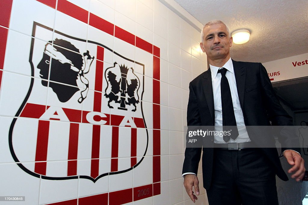 Newly appointed Ajaccio football club head coach, Italy's Fabrizio Ravanelli arrives to give a press conference on June 13, 2013 in Ajaccio, during his official presentation.
