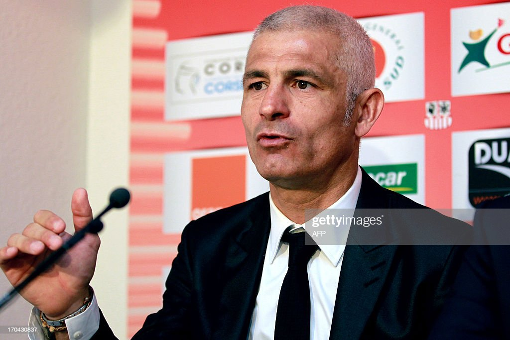 Newly appointed Ajaccio football club head coach, Italy's Frabizio Ravanelli gives a press conference on June 13, 2013 in Ajaccio, as part of his official presentation. AFP PHOTO / PASCAL POCHARD-CASABIANCA