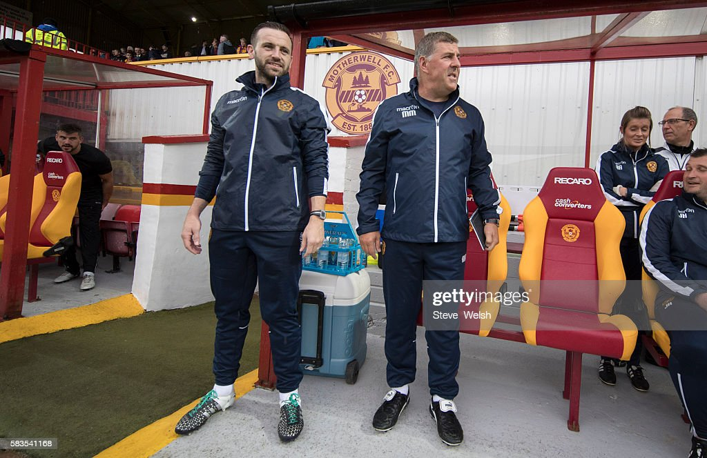 Newly appointed assistant player Manager James McFadden and Manager Mark McGhee during the BETFRED Cup First Round Group F Match between Motherwell...