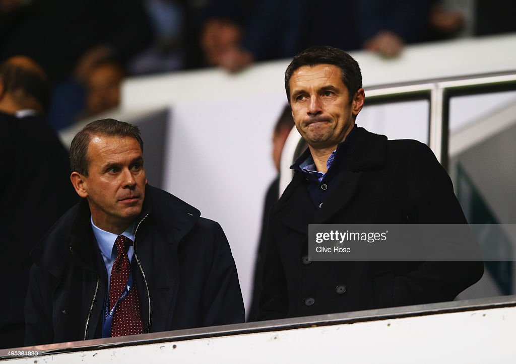 Newly appointed Aston Villa manager Remi Garde looks on from the stands prior to during the Barclays Premier League match between Tottenham Hotspur...