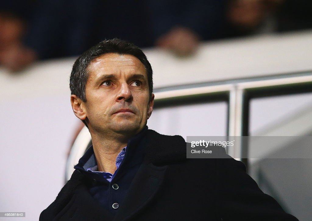 Newly appointed Aston Villa manager <a gi-track='captionPersonalityLinkClicked' href=/galleries/search?phrase=Remi+Garde&family=editorial&specificpeople=2334252 ng-click='$event.stopPropagation()'>Remi Garde</a> looks on from the stands prior to during the Barclays Premier League match between Tottenham Hotspur and Aston Villa at White Hart Lane on November 2, 2015 in London, England.