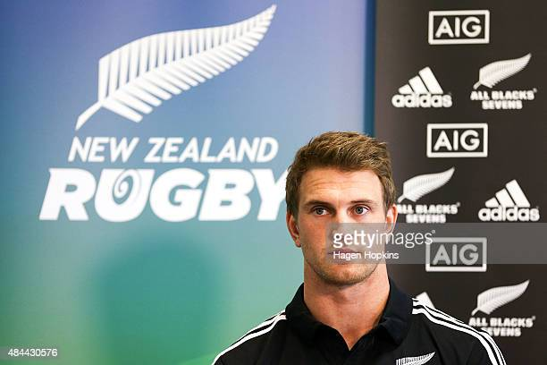 Newly appointed captain Scott Curry looks on during the All Blacks Sevens 2015/16 squad announcement at Westpac Stadium on August 19 2015 in...