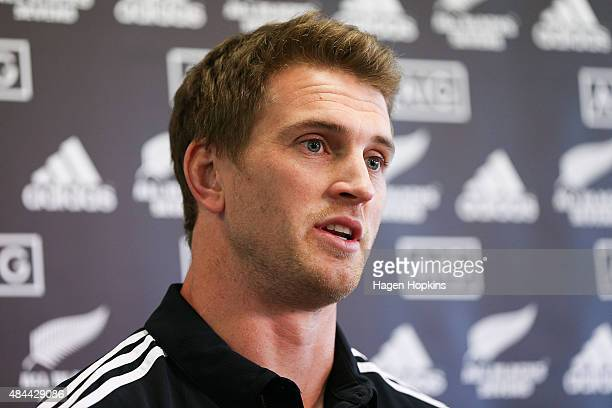 Newly appointed captain Scott Curry speaks to media during the All Blacks Sevens 2015/16 squad announcement at Westpac Stadium on August 19 2015 in...