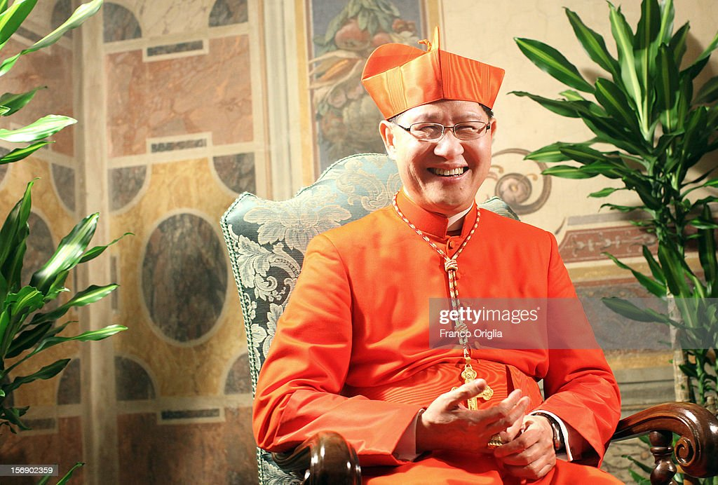 Newly appointed cardinal Luis Antonio G Tagle archbishop of Manila poses during the courtesy visits at the Sala Regia Hall at the end of the...