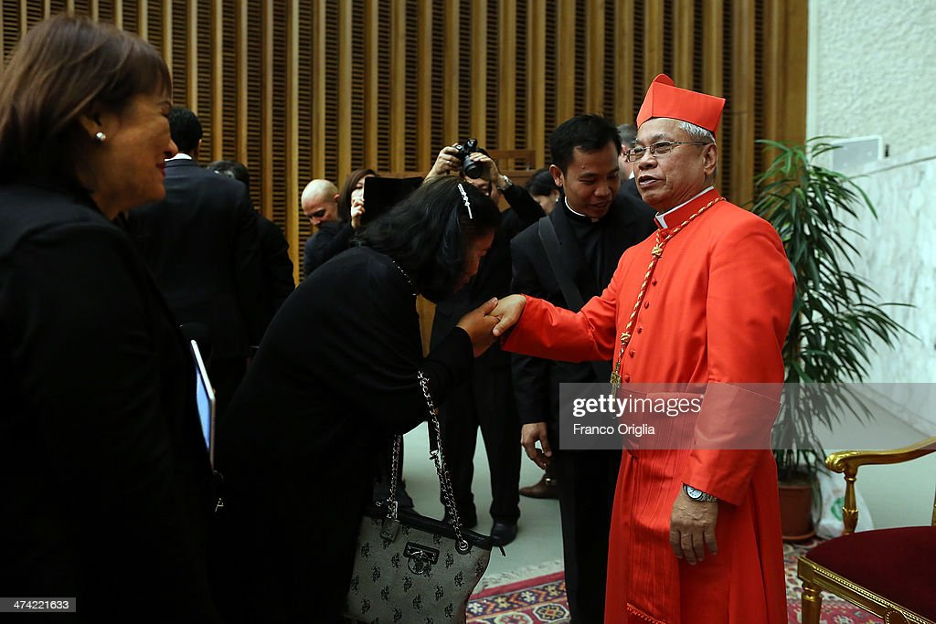 Newly appointed cardinal <a gi-track='captionPersonalityLinkClicked' href=/galleries/search?phrase=Orani+Joao+Tempesta&family=editorial&specificpeople=7074913 ng-click='$event.stopPropagation()'>Orani Joao Tempesta</a>, archbishop of Rio de Janeiro, greets visitors in the Paul VI Hall during the courtesy visits in the Apostolic Palace on February 22, 2014 in Vatican City, Vatican. 19 new cardinals were created by Pope Francis earlier today in a ceremony at St Peter's Basilica.