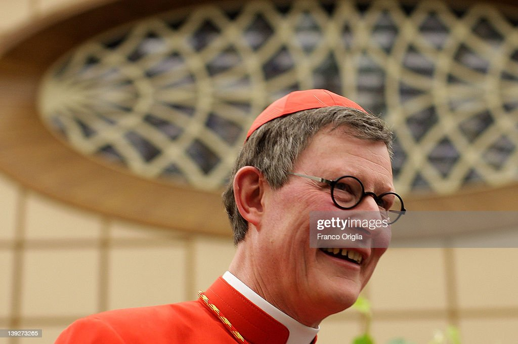 Newly appointed cardinal <a gi-track='captionPersonalityLinkClicked' href=/galleries/search?phrase=Rainer+Maria+Woelki&family=editorial&specificpeople=7942695 ng-click='$event.stopPropagation()'>Rainer Maria Woelki</a> of Berlin, Archbishop of Berlin, attends the courtesy visits at the Paul VI Hall on February 18, 2012 in Vatican City, Vatican. Pope Benedict XVI installed 22 new cardinals during the ceremony, who will be responsible for choosing his sucessor.