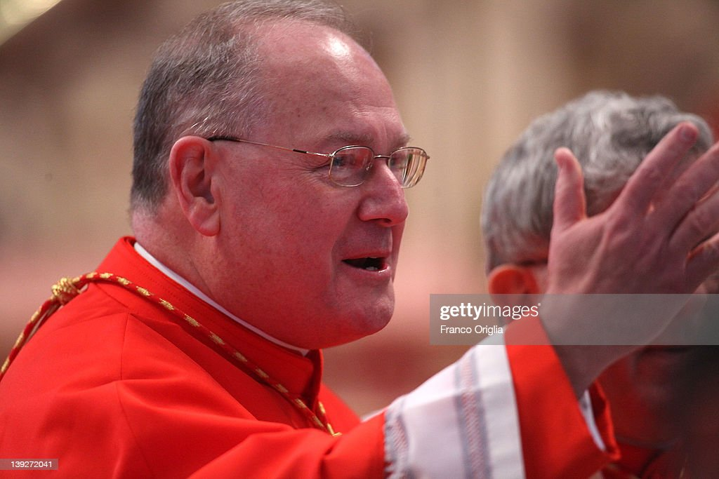 Newly appointed cardinal Timothy Michael Dolan archbishop of New York waves during the concistory held by Popen Benedict XV at the Saint Peter's...
