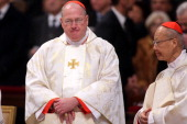 Newly Appointed cardinals John Tong Hon Archbishop of Hong Kong and Timothy Michael Dolan archbishop of New York attend a mass held by pope Benedict...