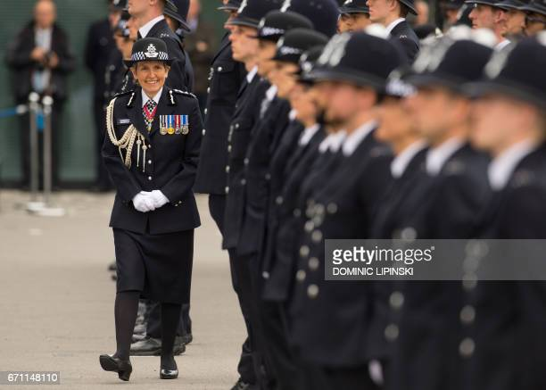 Newly appointed Commissioner of the Metropolitan Police Service Cressida Dick inspects new officers as she attends her first passingout parade at the...