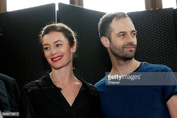 Newly appointed Dance Director of the Paris Opera Aurelie Dupont poses with outgoing director of the Paris Opera Ballet Benjamin Millepied before a...