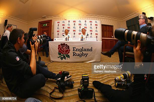 Newly appointed England Rugby Union captain Dylan Hartley and head coach Eddie Jones talk during a press conference at Pennyhill Park on January 25...