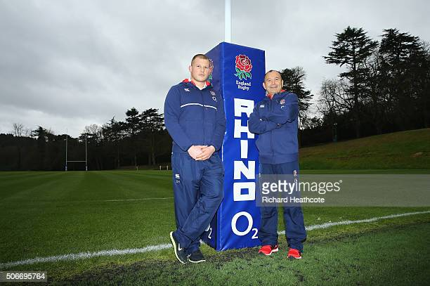 Newly appointed England Rugby Union captain Dylan Hartley poses with head coach Eddie Jones at Pennyhill Park on January 25 2016 in Bagshot England